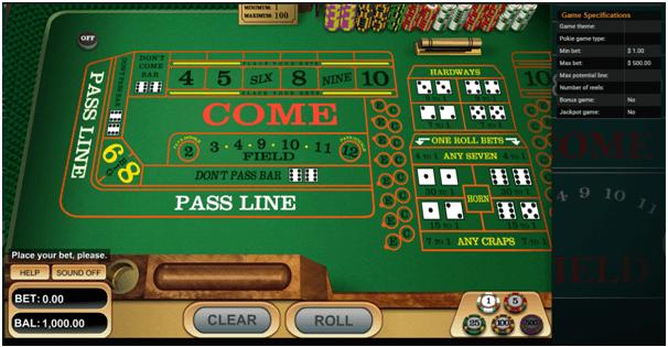 Craps online at Emu casino