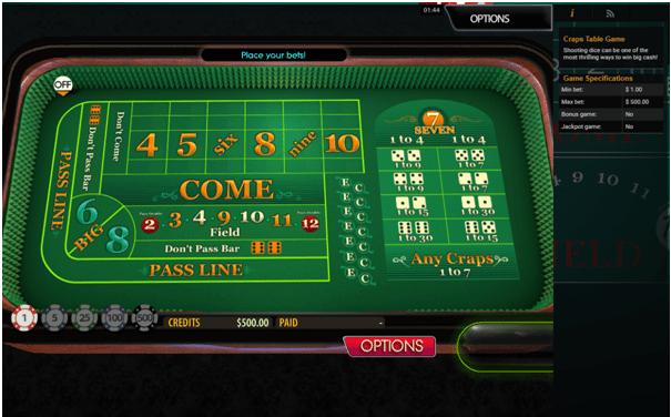 Craps at Emu Casino AUD