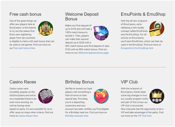 Welcome bonus at Emu Casino