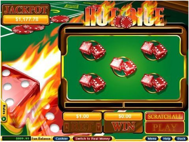 Hot Dice Instant Scratchie play with bitcoins