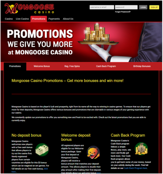 mongoose casino welcome bonus