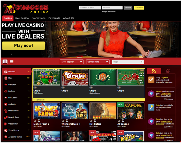Mongoose casino craps