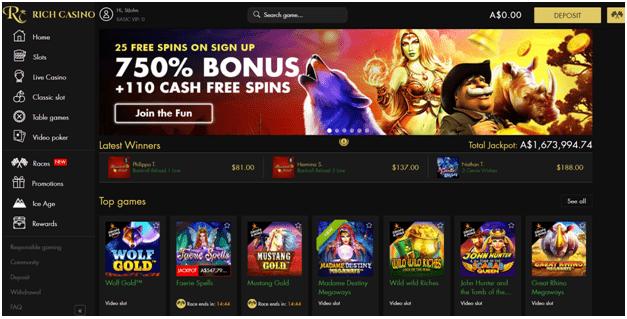 Rich casino bonus off