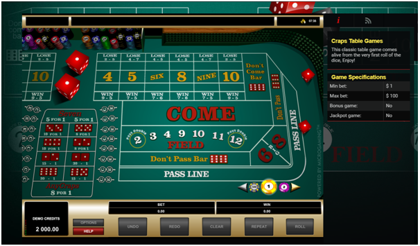 Vegas craps at Mongoose casino
