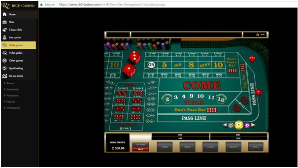 Craps at Rich Casino